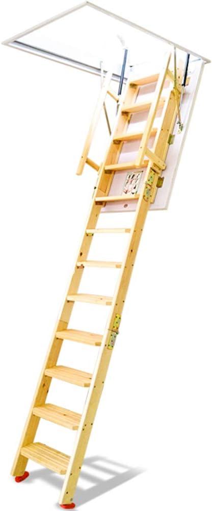 DOKJ Escalera de Madera retráctil, Escalera abatible telescópica para el ático, Escalera de Madera Invisible para Interiores y Exteriores con Levantamiento Retro, Madera Natural: Amazon.es: Hogar