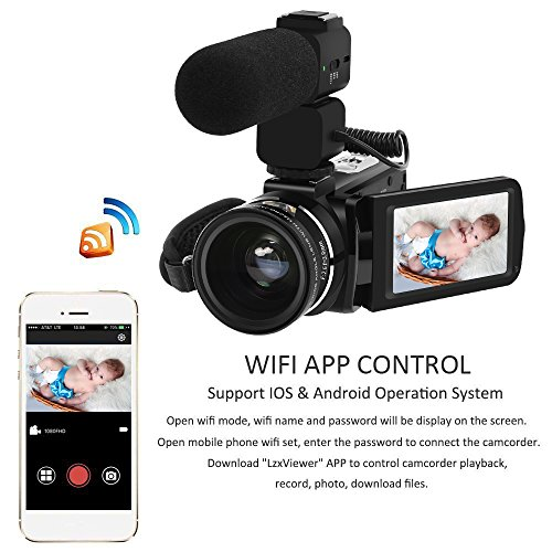 Video Camera, LAKASARA Full HD 1080P 30FPS WIFI Camera Camcorder DVR with External Microphone and Wide Angle Lens by LAKASARA (Image #2)