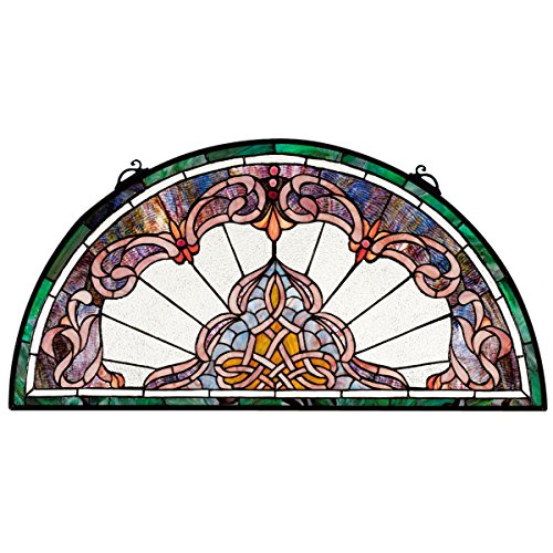(Design Toscano Lady Astor Demi-Lune Stained Glass Window Hanging Panel, 32 Inch, Amethyst Moon)