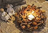 Greencherry Pine Cone Wood Branch Handmade Wreath Candle Holder