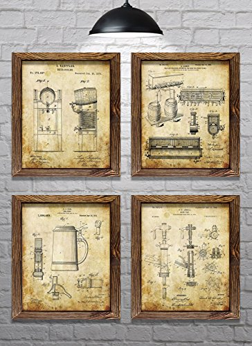 "Gifts for Beer Brewers! - Vintage Beer Themed Patents - Set of Four - 8""x10"" Prints - Perfect gift for Homebrewers and Beer Lovers! (set#1)"