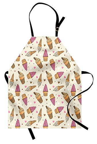 Lunarable Ice Cream Apron, Delicious Refreshing Snacks with Colorful Hearts Dots Dairy Products Print Art, Unisex Kitchen Bib Apron with Adjustable Neck for Cooking Baking Gardening, Multicolor