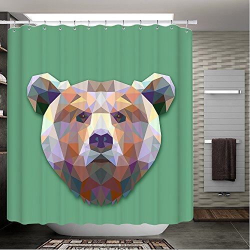 Amoy Lefan Shower Curtain Hipster Bear Wild Animal Portrait Bear with Colorful Fancy Decor Cute Charming - I Love Lucy Shower Curtain