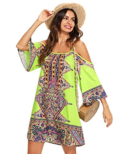 - Milumia Women's Tribal Print Kimono Sleeve Geometric Tunic Boho Dress Large Multicolor-4