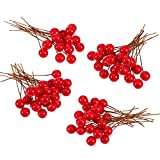 BBTO Artificial Holly Berries, 100 Pieces Mini 10 mm Fake Berries Decor on Wire for Christmas Tree Decorations Flower Wreath DIY Craft Use (Red)