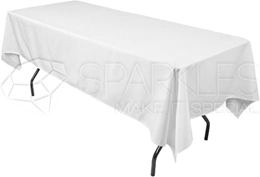 "Ivory Wedding at 10 pc 60/""x102/"" Rectangular Cloth Fabric Linen Tablecloth"