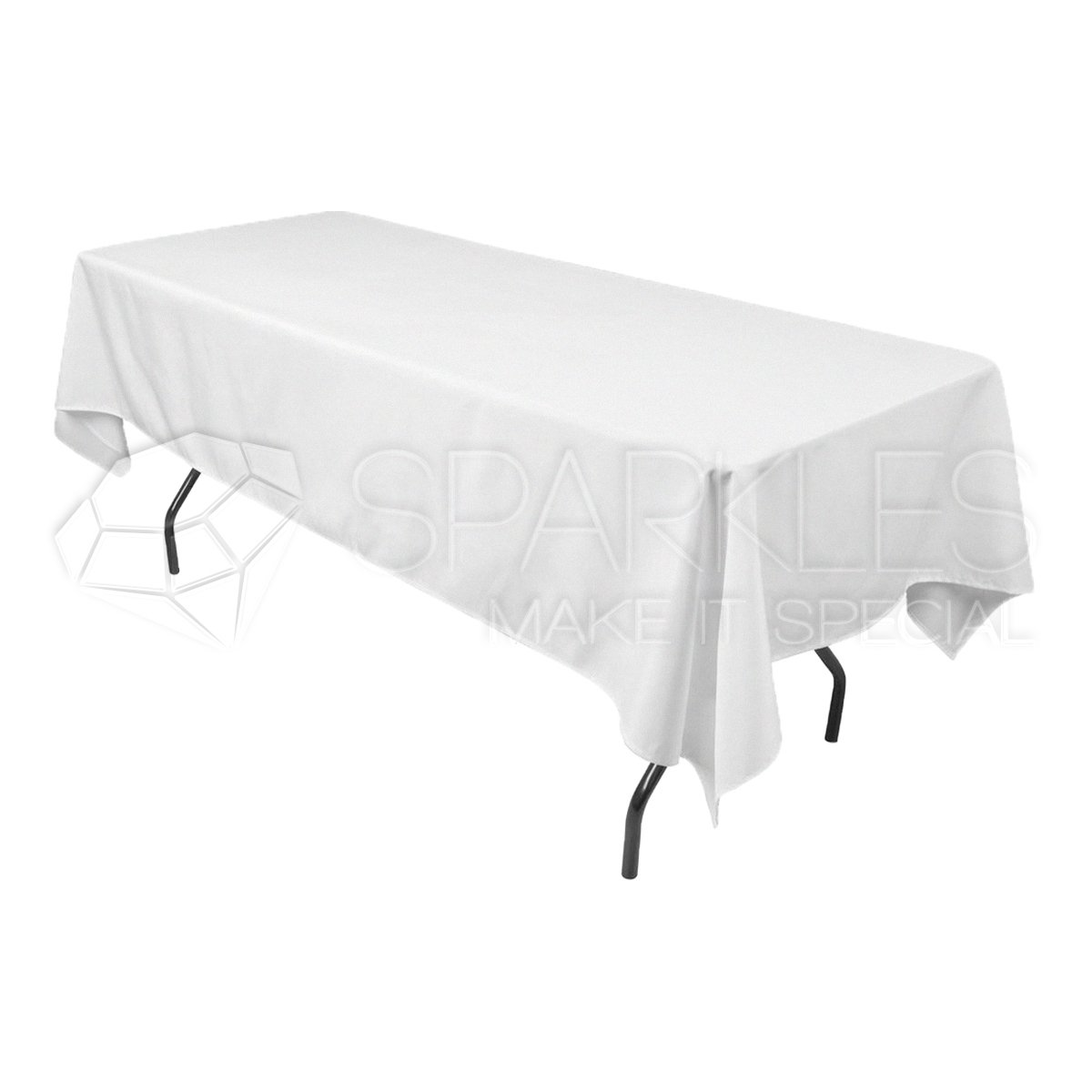 Sparkles Make It Special 10-pcs 60'' x 102'' Inch Rectangular Polyester Cloth Fabric Linen Tablecloth - Wedding Reception Restaurant Banquet Party - Machine Washable - Choice of Color - White