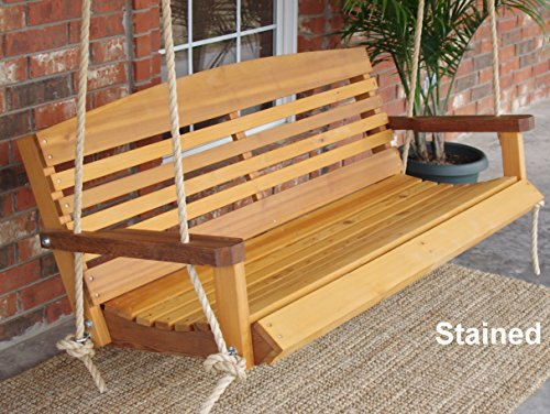(Brand New American Cedar Porch Swing with Hanging Rope and Cupholders - 5 Foot)