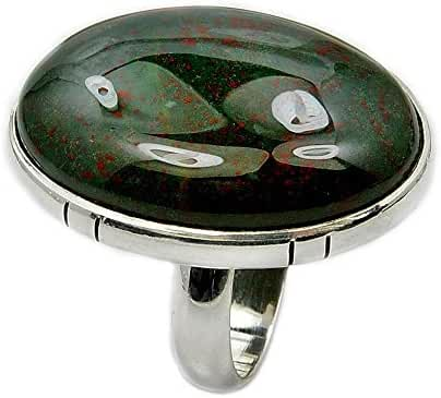 Large Sterling Silver Rare Natural Bloodstone Ring Size 7.25