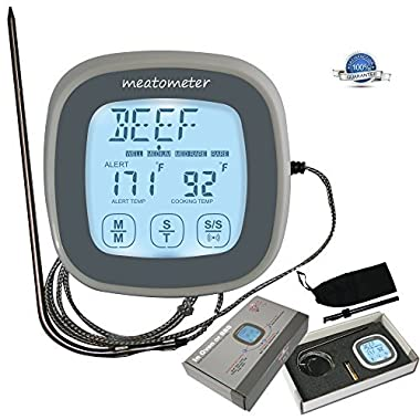 Oven Digital Meat Cooking Thermometer - Best High Temp Stainless Steel Probe Safe To Leave-in BBQ, Grille or Smoker - Large Touchscreen and Timer - Grill Food, Chicken, Turkey - Accurate Precision