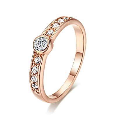 DARLING HER Concise Crystal Ring Rose Gold Color Crystals Full Sizes