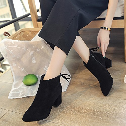 SHOEES Pointed High-Heeled Boots with Thick Suede Women 'S Leather Boots Fashion European and American Shoes C OVrDcdEO
