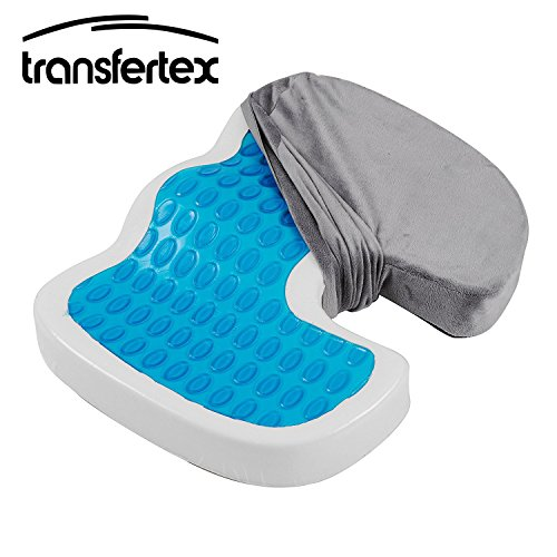 Gel-Enhanced Seat Cushion With Memory Foam Non-Slip Coccyx Grey Covered Office Wheelchair Car Use by Transfertex