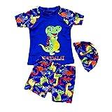 Yunqir Kids Wetsuit 3 Pcs/Set Children's Short Spilt Swimsuits Kids Dinosaur Patterns Sunscreen Wetsuit for Water Sports(Sapphire-Blue)