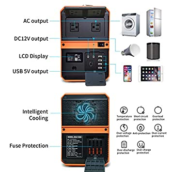 KMASHI Portable Generator, Portable Power Station 1010Wh Solar Generator Emergency Battery Backup Power Supply with 110V 1000W AC Outlet for Home Outdoors Camping Travel