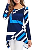 onlypuff Plus Size Long Sleeve Tunic Tops Women Printed Blouses Asymmetric Hem Blue XXL