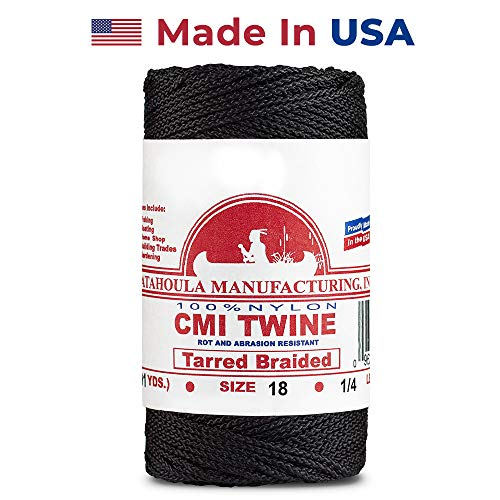 (Catahoula Manufacturing #18 Tarred Braided Bank Line, 1/4lb Spool, Black, One Size)