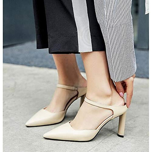 Leather Nappa Yellow Women's Heel Comfort Black Almond Summer Black Stiletto ZHZNVX Heels pnAqxnw