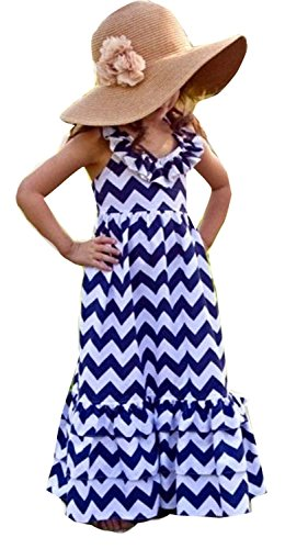 Kids Girls Backless Wave Stripe Maxi Long Sundress Boho Dress Skirt (Toddler Fancy Dress)
