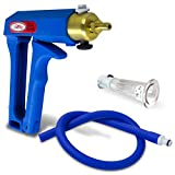 LeLuv Vacuum Pump Maxi Blue Handle Uncollapsible Blue Silicone Hose Natural Body Enhancement Clitoris Suction Cups Small