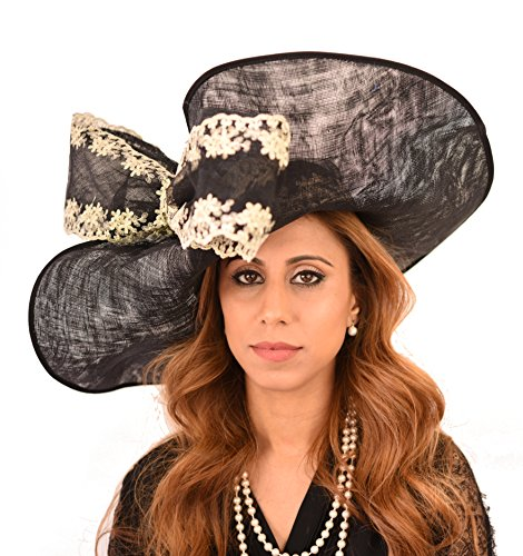 Gorgeous Grey Wagtail Embroidered Sinamay Bow Ascot Derby