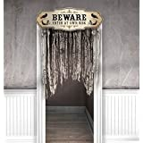 "Amscan Dreadful Boneyard Halloween Party ""Beware"" Door Curtain Decoration, Brown, 55"" x 39"""