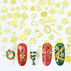MEILINDS Nail Art Gold Metal Christmas Studs Xmas Diy Nail Manicure Decoration Tips 1000 Pcs