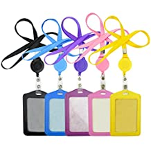 Business ID Badge with ID Holder Lanyards - Pistha 5 PCS PU Card Holder with 5 PCS Retractable Lanyard Neck Strap Band in 5 Different Colors (Black, Blue, Purple, Yellow and Pink)