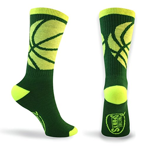 ChalkTalkSPORTS Basketball Athletic Half Cushioned Crew Socks | BBall Wrap Design | Green/Neon Yellow