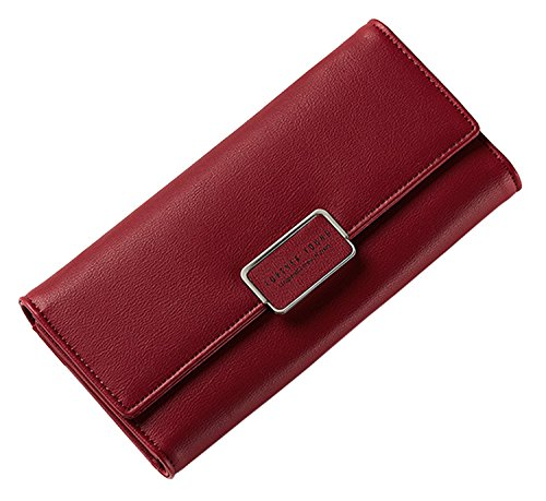 Clutch Leather Wallet Purse Wine New Case Pu SAIERLONG Holder Womens Red Purple wBn4pq1g6