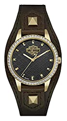 Harley-Davidson Women's Crystal Embellished Shaped Cuff Watch, Brown/Gold 77L105