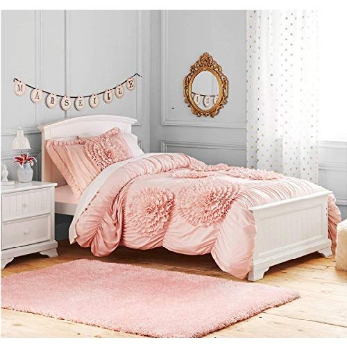 - Better Homes and Gardens Ruffled Flowers Bedding Comforter Set, Twin, Pink