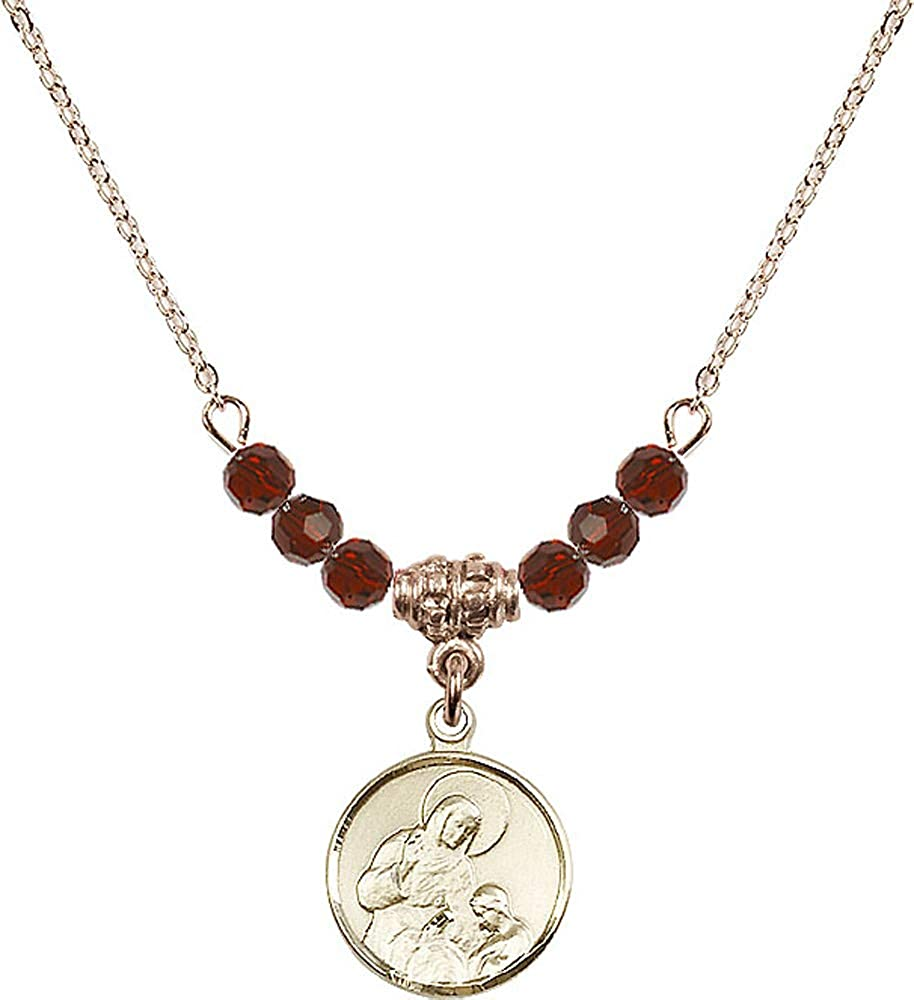 Garnet January Birthstone Patron Saint of Housekeepers//Mothers 18-Inch Hamilton Gold Plated Necklace with 4mm Garnet Birthstone Beads and Saint Ann Charm
