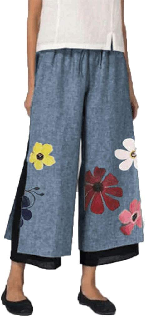 Armfre Bottom Womens Wide Leg Pants Floral Print Mesh Lined Palazzo Pants Stretch Split Loose Flowing Cropped Trouser for Casual Yoga Activewear Plus Size