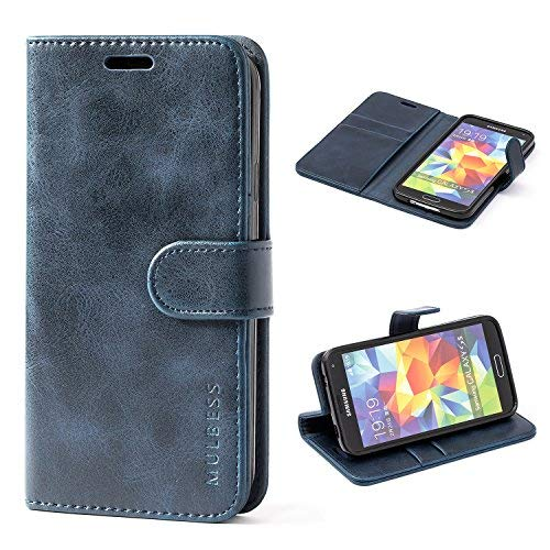 Mulbess Galaxy S5 Protective Cover, Magnetic Closure RFID Blocking Luxury Flip Folio Leather Wallet Phone Case with Card Slots and Kickstand for Samsung Galaxy S5, Navy Blue