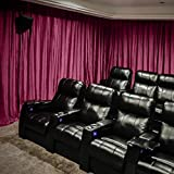 Velvet Blackout Lined Home Movie Theater Curtain Drapes Panel, Pinch Pleated 120W x 108''L (1 Panel) For Stage Event Auditorium, BURGUNDY RED
