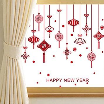 Ufengke Frohes Neues Jahr Frühlingsfest Rote Chinesische Knoten Segen Worte  Tür Fenster Wandsticker,Wohnzimmer Schlafzimmer