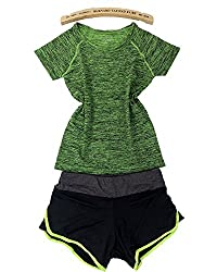Women Quick Dry Sport Yoga Set Shirt Shorts Sportswear Breathable Fitness Running Sport Suit Green L
