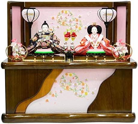 雛人形 収納親王飾り 刺繍木目収納箱 〔間口60cm×奥行43cm×高さ54cm〕
