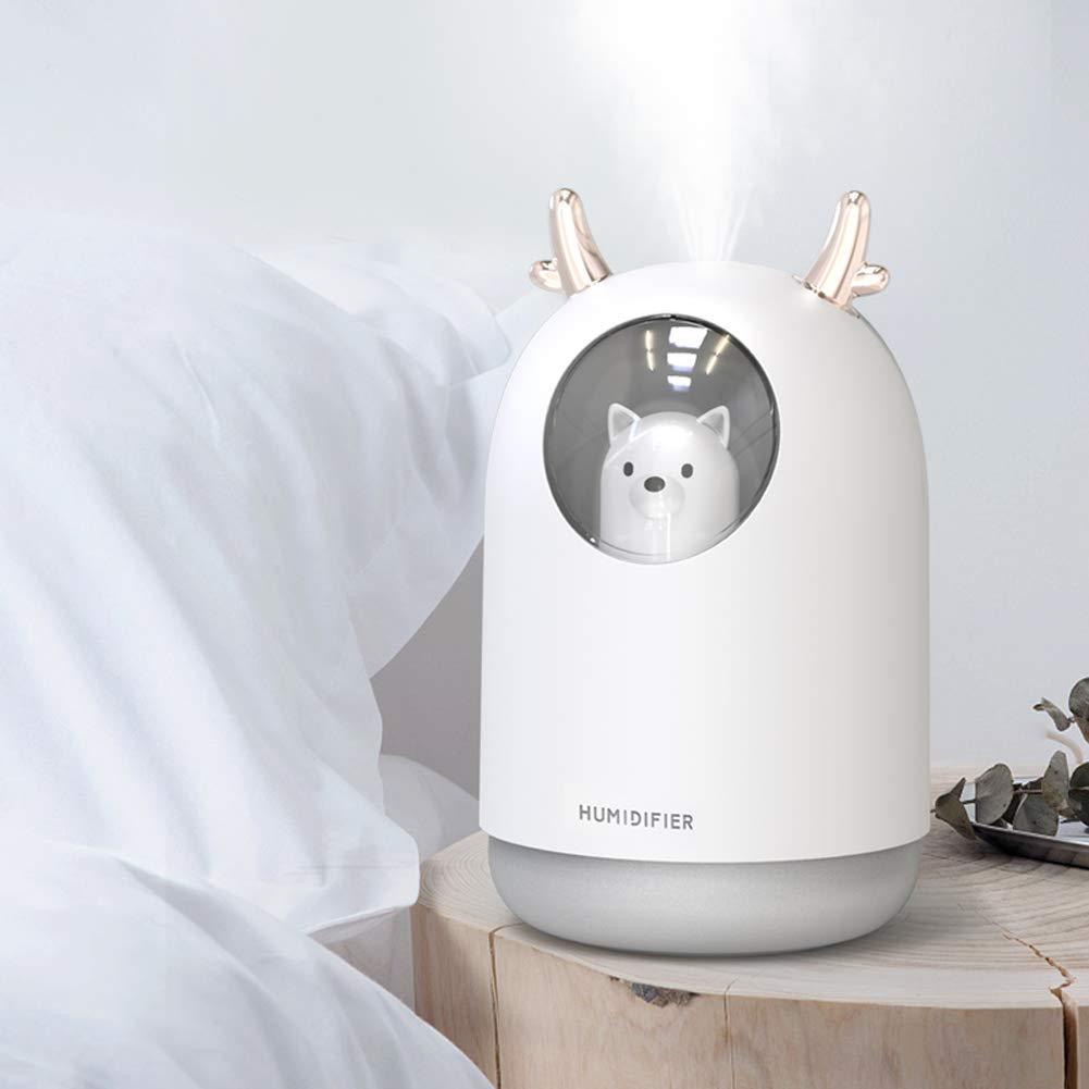ufficio luce notturna a LED a 7 colori per bambino camera da letto casa Guwheat Umidificatore MIni a nebbia fredda con modalit/à nebbia regolabile serbatoio dellacqua da 300 ml Bianca