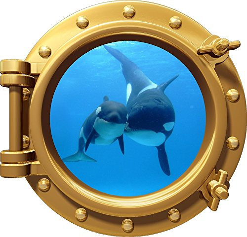 12'' PortScape WALL DECAL Killer Whale & Cub 1 BRONZE Vinyl Sticker for Kids Room Peel Stick by Stickit Graphix