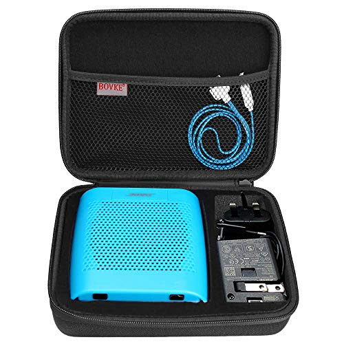 BOVKE Speaker Case for Soundlink Color II Wireless Speaker Hard EVA Shockproof Carrying Case Storage Travel Case Bag Protective Pouch Box, Black (With Speaker Power Case)