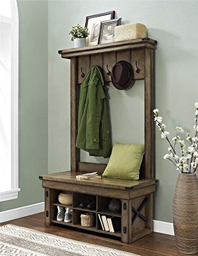 Altra Furniture Wildwood Wood Veneer Entryway Hall Tree with Storage (Rustic Coat Tree)