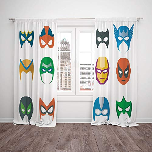 (iPrint 2 Panel Set Window Drapes Kitchen Curtains,Superhero Hero Mask Female Male Costume Power Justice People Fashion Icons Kids Display Multicolor,for Bedroom Living Room Dorm Kitchen)
