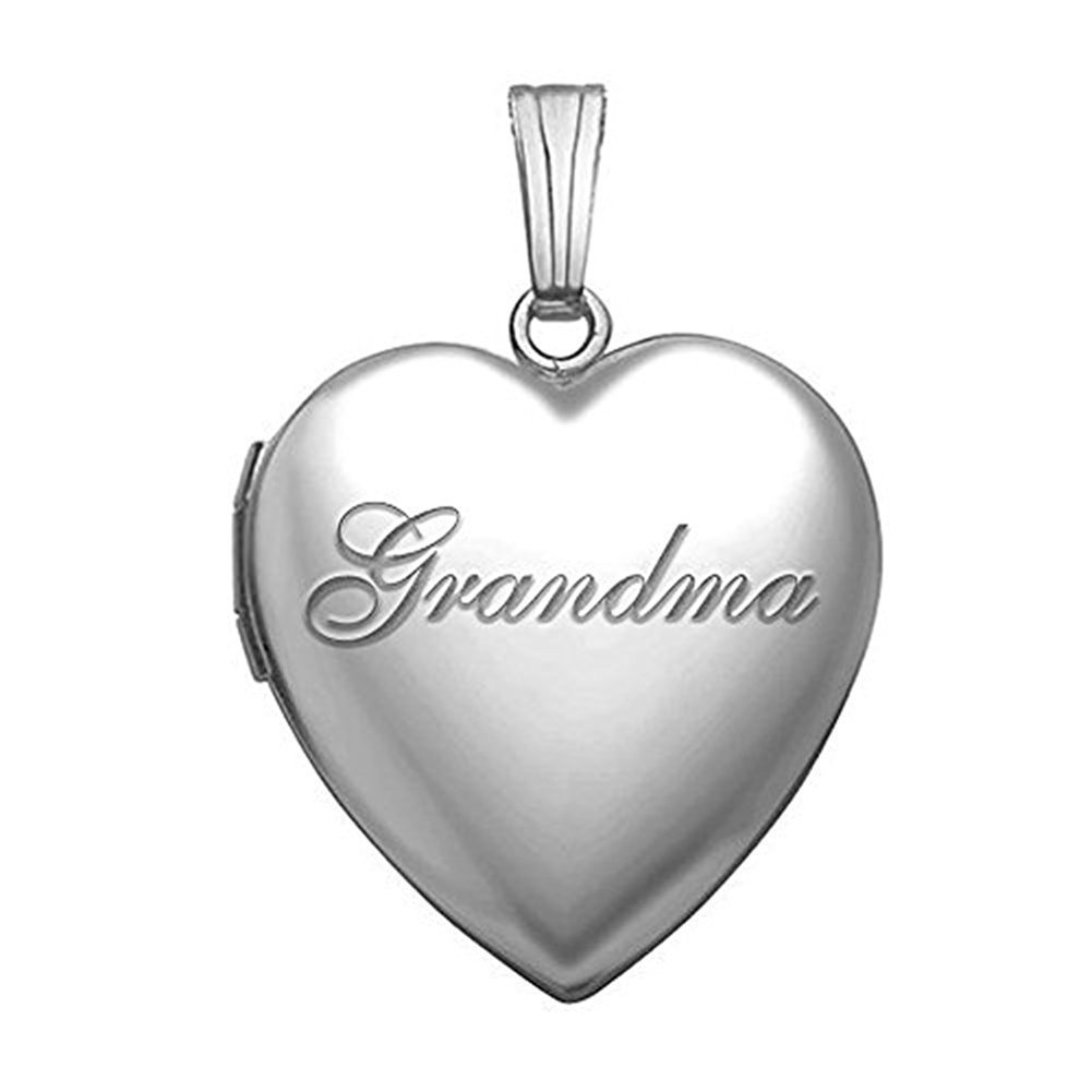 PicturesOnGold.com Sterling Silver Grandma Sweetheart Locket 3/4 Inch X 3/4 Inch WITH ENGRAVING