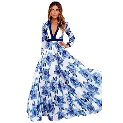 LuckyGirls ❤️ Mujer Sexy Vestido de Fiesta Manga Larga Cuello en V Estampado de Floral Largos Vestido de Noche Maxi Playa Falda Azul