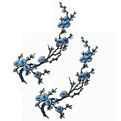 Emmas Two Asian Cherry Blossom Sakura Flower Iron on Embroidered Appliques Patch Japanese Chinese (Blue) ()