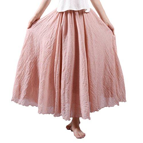 Corail Bohme Jupe Taille et Longue Lin Elonglin Tour Plisse Coton avec Femme Elastique de Rose en Couleur Jupon Diverse UBRqEwyO5w