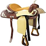 "16"" Western Style Horse Saddle Trail Riding Equestrian Saddle (Leather with Caramel Suede Seat Design)"