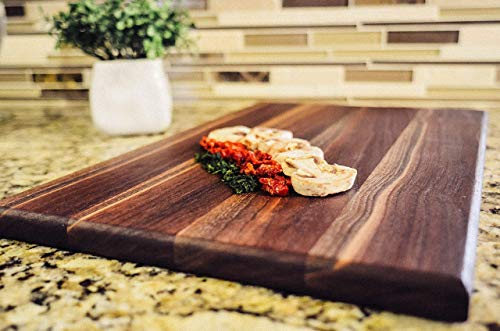 Walnut Wood Cutting Board HANDMADE IN USA- Reversible -Large 17x11x3/4 in. Kitchen Butcher Block for Cheese, Meat, and Vegetables-100% CHEMICAL FREE SOLID ORGANIC HARDWOOD-FoodSafe Prep & Serving Tray